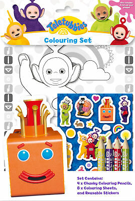 Teletubbies Colouring Set Childrens Activity Stickers Stocking Filler Gift