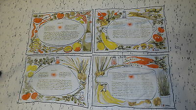 4 Vintage VERA PLACEMATS 4 Different Recipes on Each Mat