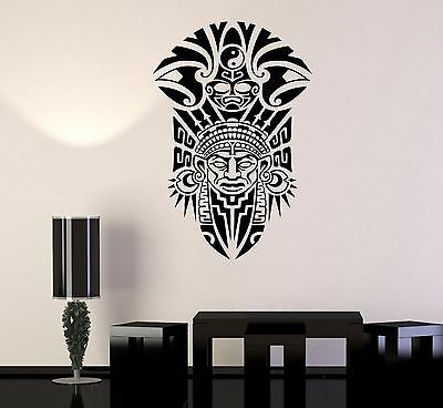 Vinyl Wall Decal Shaman Ancient Tribal Mask Stickers Mural (537ig)
