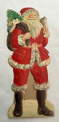 Vintage 1930s Embossed Card FATHER CHRISTMAS WITH BELL & SACK