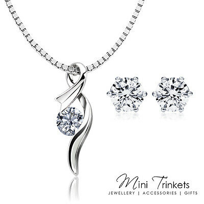 Womens 925 Sterling Silver Cubic Zirconia Crystal Necklace + Stud Earrings Set