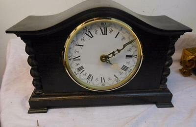 old barley twist oak mantle clock , battery movement fitted