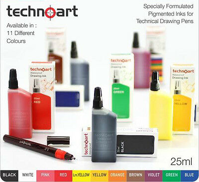 Technoart Waterproof Drawing Ink 25ml Compatible with Rotring Isograph Pens
