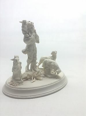 Cybis Bisque Porcelain Figural Group Boy With Sheep And Goat