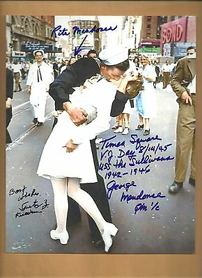 Greta Friedman - George & Rita Mendonsa Autographed 8x10 Picture SIGNED BY 3