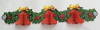 Vintage 1950s/60s  Charming Christmas Bells & Holly Honeycomb Decoration