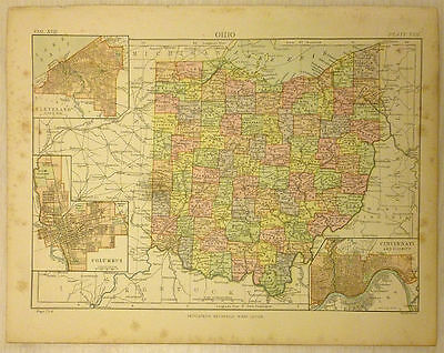 Antique Color Map of Ohio. 1889.