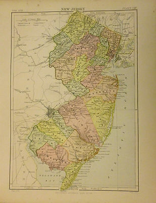 Antique Color Map of New Jersey, USA. 1889.