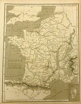 Antique Map of France in the Provinces. 1810