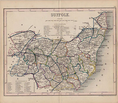 Antique Map of Suffolk, England by J Archer