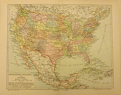 German Color Map of the United States and Mexico