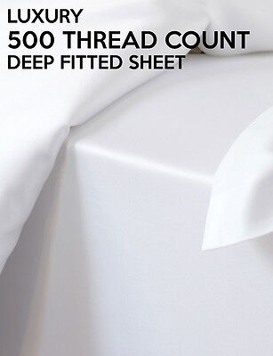 Luxury Superior Percale 500 Thread Count Cotton Blend Fitted Bed Sheet