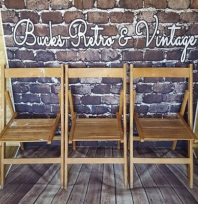 Vintage Antique Wooden Circa 1940's 1950's Folding School  Garden slatted chairs