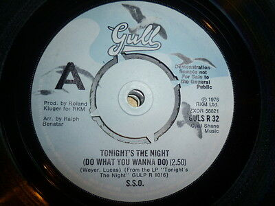 S.s.o.  Tonight's The Night(Do What You Wanna Do). 1976 Gull Demo 45. Funk