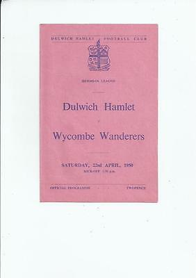Dulwich Hamlet v Wycombe Wanderers Isthmian League Football Programme 1949/50
