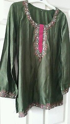 ladies Indian style kurta. Sequins. Size 12. New. Long top tunic.