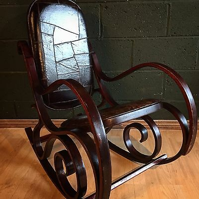 Retro Vintage Mid Century Bentwood Brown Leather Rocking Chair