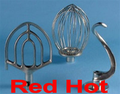 New 20 Qt Dough Hook, Flat Beater Paddle and Wire Whip for Hobart 20 Qt Mixer