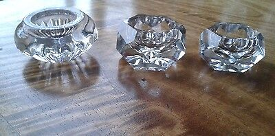 Three Beautifully Ornate Cut Glass Condiment / Ornaments