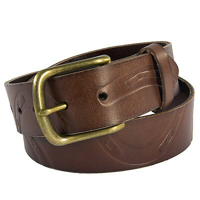 Large Noble Outfitters Leather Horse Riding Pony Print Belt Antique Brown