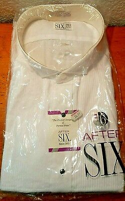 Men's After Six White Laydown Collar Pleated Tuxedo Shirt 2 XL3 32/33