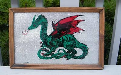 Antique Asian Mythical Reverse Painted Dragon Glass Fabric Folk Art Wood Frame