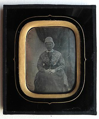 Daguerreotype Photo Femme Folklore Tradition Populaire Coiffe Chale Robe O794