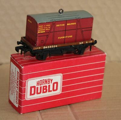 HORNBY DUBLO 4647 FLAT WAGON  WITH FURNITURE CONTAINER NM Superb Box
