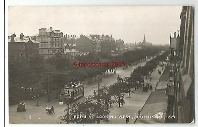 Lancs Southport Lord Street Looking West Unusual View Real Photo Vintage RPPC