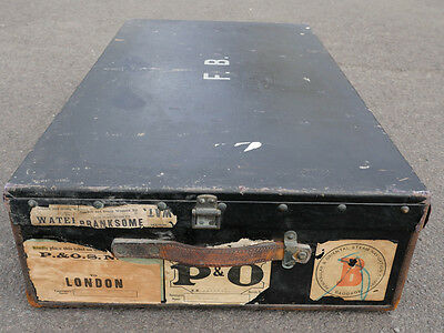 Early 20th C Vintage Black Steamer Travel Trunk Cool Shipping Labels