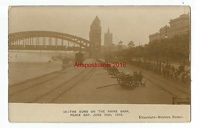 Military Guns on Rhine Bank Cologne Germany 1919 2 Real Photo Vintage Postcards