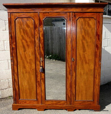 Large Victorian Combination Armoire / Wardrobe With Linen Slides / Drawers & Key