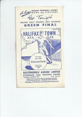 Halifax Town v Chesterfield Football Programme 1959/60