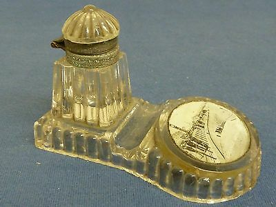 Antique/Vintage Glass Inkwell with Photograph of Weymouth - Souvenir.  As Found