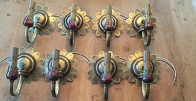 8 Matching 1920's Antique Brass Sconces Lot 4 Pairs Wired Wall Sconce Huge Lot