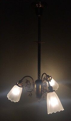 """31"""" Vintage Antique Three Light Fixture Shades Victorian Light Lamp Wired"""