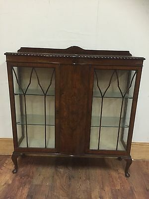 90# Large Vintage Veneered Glass/glazed China/Display Cabinet/cupboard With Key