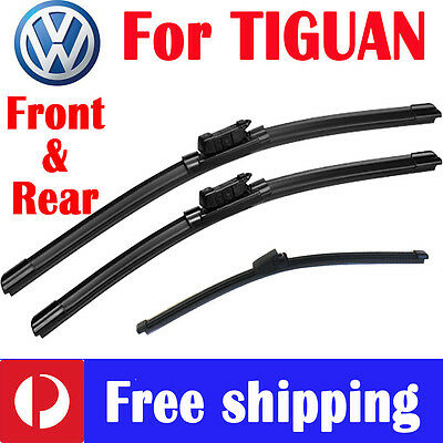 Pair Front wiper blade frameless + rear for volkswagen VW TIGUAN 5N 2008 - 2016