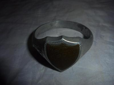 "RARE GREAT WAR TRENCH ART LARGE 5.5cm DIAMETER ALLOY RING ""YPRES"" BRASS SHIELD"