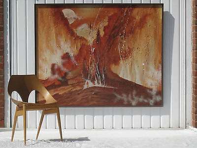 HUGE OIL PAINTING DRAMATIC ABSTRACT MODERNIST SIGNED STEPHEN KAYE VINTAGE 1970s