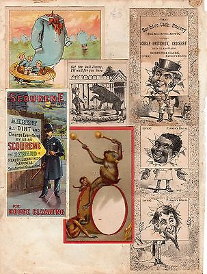 VICTORIAN SCRAPBOOK PAGE LITHOGRAPH ADVERTISING ADVERTS CANADA 1880's SCOURENE