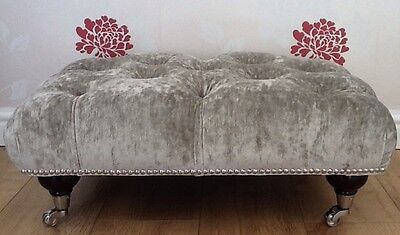 A Quality Deep Buttoned Footstool In Laura Ashley Caitlyn Silver Fabric