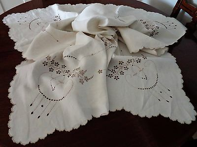 Vintage Linen Tablecloth: Eyelet Embroidery with Golden Fawn Thread