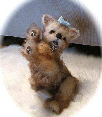OOAK Mohair Yorkie Puppy Dog Fully Jointed Open Mouth