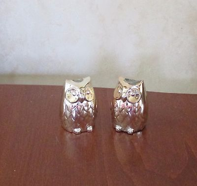 Novelty Owls Silver Plated Salt And Pepper Pots