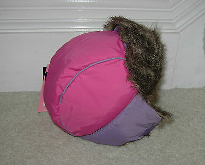 Marks And Spencer M&s Girl'S Fur Trimmed Water Repellent Hat 3 - 6 Years Bnwt