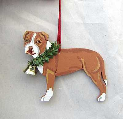 Hand-Painted PIT BULL TERRIER RED/WHITE Wood Christmas Ornament Artist Original