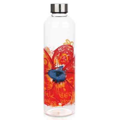 NEW 1 Litre Glass Bottle with Stainless Steel Lid