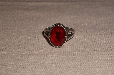 Vintage Russian Ruby Red Faceted Glass German Silver  Coctail Ring 12 X Jenavi