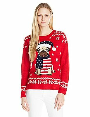 Blizzard Bay Women's American Pug Ugly Christmas Sweater Red/White L Pullover